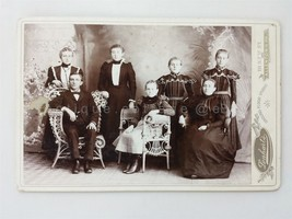 antique FAMILY CABINET PHOTO lenhart allentown pa MOTHER FATHER 5 DAUGHT... - $32.95