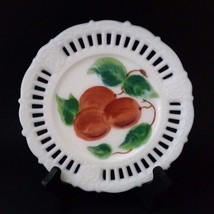"Painted Cherries Fruit Lace Bead Shell Edge 7.25"" Milk Glass Plate 05191746 - $16.70"