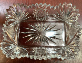 American Brilliant Period hand Cut Glass rectangle tray Signed Fry - $55.17