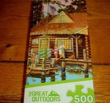 Jigsaw Puzzle 500 Pieces Grandpas Lakeside Log Cabin Boat Vintage Truck ... - $13.85