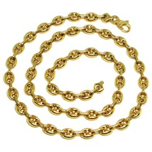 18K YELLOW GOLD SOLID MARINER CHAIN BIG 6 MM, 24 INCHES, ANCHOR ROUNDED NECKLACE image 1