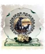 Black Labrador Dogs Collectable crystal Cut glass Plaque  #8 - $30.59
