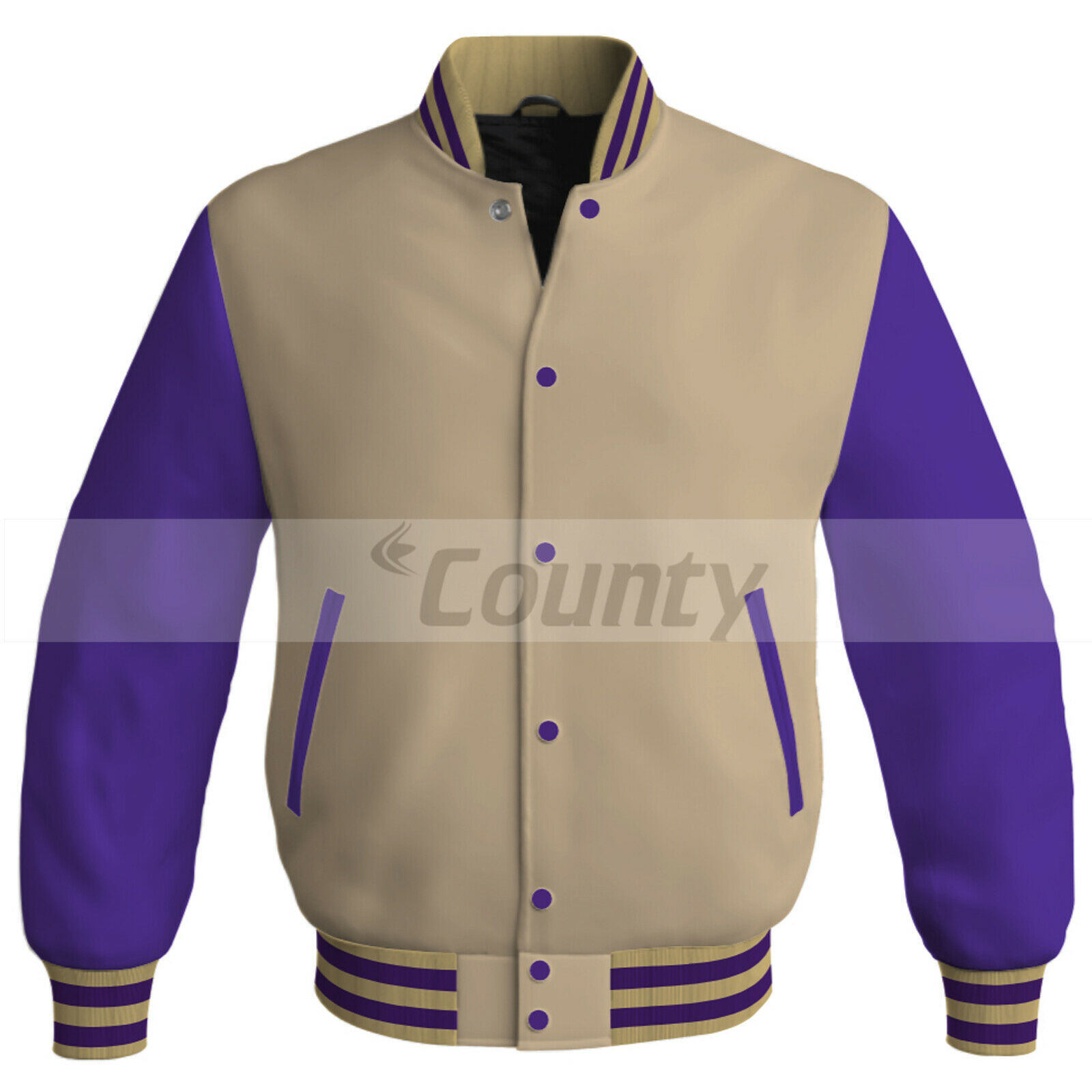 Primary image for New Letterman College Baseball Bomber Jacket Sports Ivory Cream Purple Satin