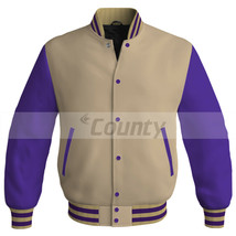 New Letterman College Baseball Bomber Jacket Sports Ivory Cream Purple S... - $49.98+