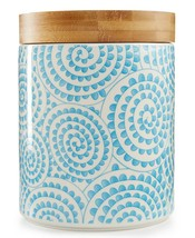 Certified International Chelsea Collection Aqua Swirl Canister with Bamb... - $21.77