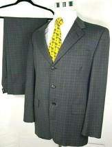 Tommy Hilfiger Mens Suit Size 43 Regular 34 x 32 Gray Plaid 100% Wool USA - $72.22