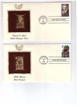 Two U.S. Postage First Day Cover With Gold Stamps Folk Heroes and Black ... - $14.75