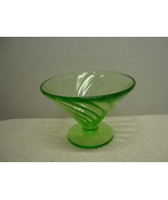 Federal Glass Co, Green Vaseline glass swirl pattern fruit cups. - $5.00