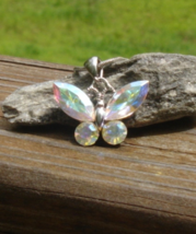 Vintage Austrian Crystal Butterfly Pendant, Signed AU - $10.00