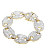 """Men's Puff Mariner Gucci Iced Out Bracelet 14k Yellow Gold Finish 24mm 9.5"""" - $289.99"""