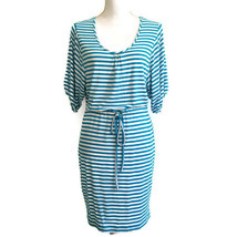 Calvin Klein Dress 2 Blue White Stripe Dolman Sleeve Drawstring Waist D44 - $25.00