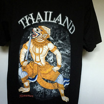 Thailand Hanuman Lord of Celibacy T Shirt Mens Large White Monkey warrior - $21.73