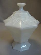 Milk White Glass 8 Panel Grape & Leaf Design Candy Dish Anchor Hocking 1... - $9.95