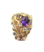 14k Yellow Gold Women's Vintage Ring With Amethyst February Birthstone &... - $1,094.28