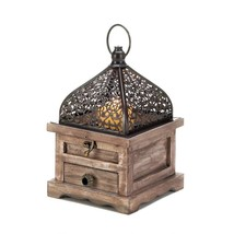 FLIP TOP SMALL LANTERN Moroccan Style Distressed Wood with Drawer - $23.99