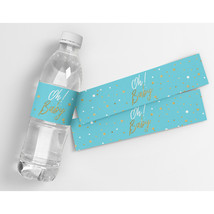 Oh Baby Blue Baby Shower Party Water Bottle Labels - $21.78