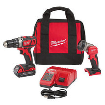 "Milwaukee M18 18V Li-Ion Compact 1/2"" Drill Kit w/LED Work Light  2606-2... - $170.99"