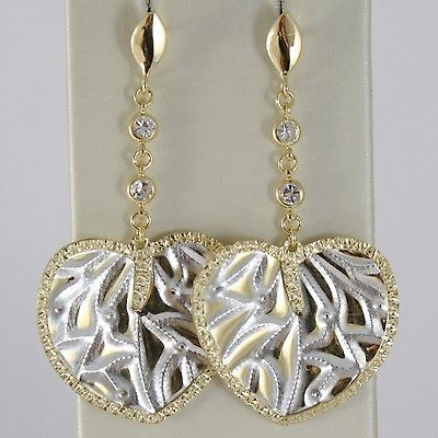 YELLOW GOLD EARRINGS WHITE 750 18K HANGING 4.8 CM HEARTS WORKED AND ZIRCONIA