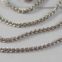 SOLID 18K WHITE GOLD SPIGA WHEAT EAR CHAIN 18 INCHES, 1.2 MM, MADE IN ITALY  image 2