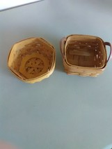2 Small Longaberger Baskets - 1993 w/ Leather Handles - 2001 Hex sided - $7.36
