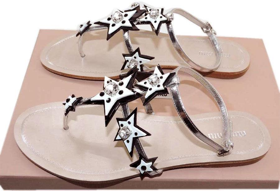 $720 Miu Miu - Prada Star Jeweled Patent Leather Thong Sandal Flip Flop Flats 39
