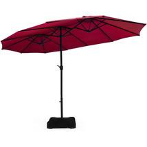 15 Ft Patio Umbrella Outdoor Umbrella with Crank & Base-Burgundy - $292.45