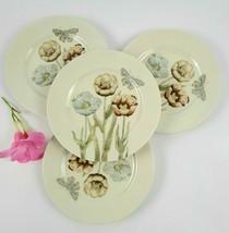 Vintage Fitz & Floyd Pastel Poppy Pattern Salad Plates- Set of 4 - Made ... - $45.00