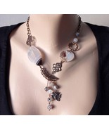 statement asymmetrical necklace agate with pendant owl.  - $43.00
