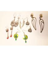 6 pairs of handmade long drop dangle earrings angel wings cat saturn cha... - $3.99