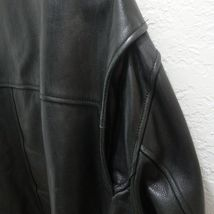 ANDREW MARC Black Leather Bomber Jacket Distressed Lined Zip Up Motorcycle XL image 6