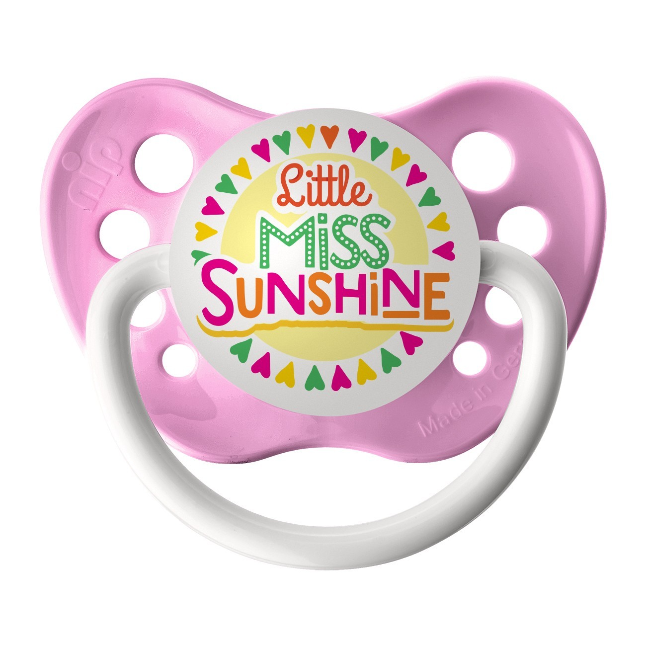 Primary image for Little Miss Sunshine Pacifier - Girls - Neon Pink - Ulubulu Binky - 6+ months