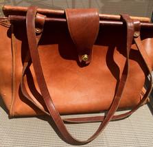 Vintage Briefcase Saddle Brown Leather Tote Shoulderbag Quality Case Rar... - $79.99