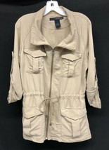 Womens Calvin Klein Sz M Khaki Safari Cargo Jacket Drawstring Roll Tab Sleeves - $37.05