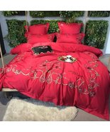 Palace Style Egyptian Cotton Duvet Set 7PCS King/Queen Bedding Red - $278.45+