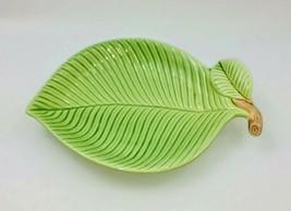 Fitz & Floyd Green Leaf Trinket Dish Snack Tray Plate Japan Vintage - $17.99