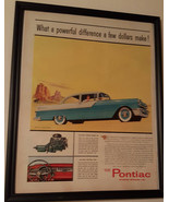 Vintage Ad - Framed 1955 Blue PONTIAC Model 860 2-Door Car - STRATO STRE... - $15.99