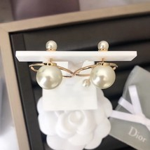 Authentic Christian Dior 2019 Tribales Double Pearl Dangle Drop Long EARRINGS image 4