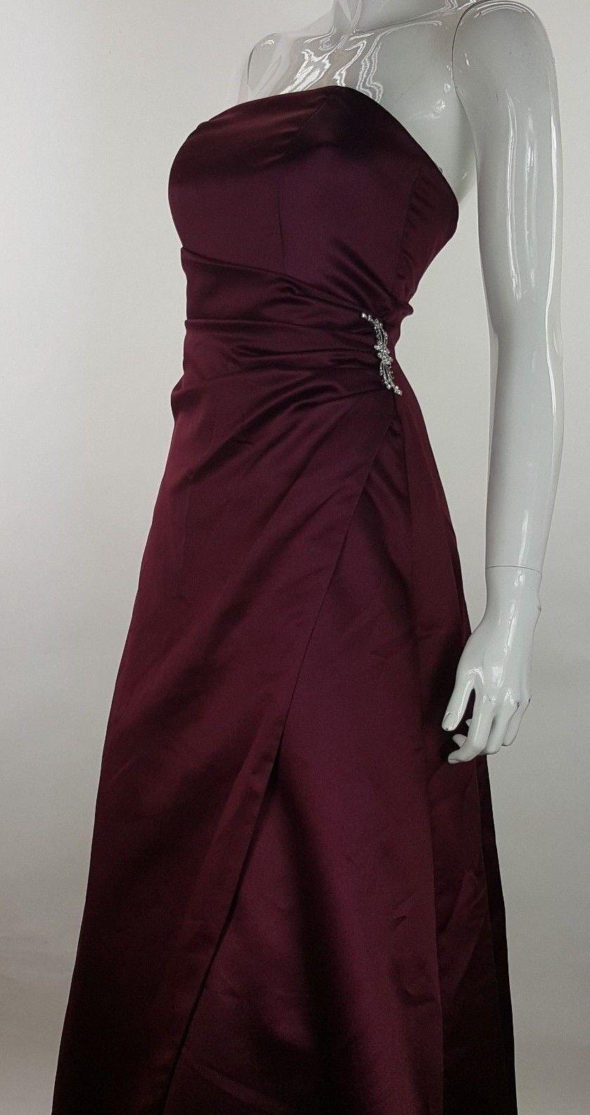 616f12bff70 Davids Bridal Sleeveless Ruched Long Formal Bridesmaid Dress Burgundy Size  4 EUC -  28.04