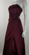 Davids Bridal Sleeveless Ruched Long Formal Bridesmaid Dress Burgundy Size 4 EUC - $28.04