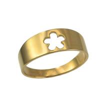 14K Polished Yellow Gold Hawaiian Plumeria Flower Ring Band - $169.99
