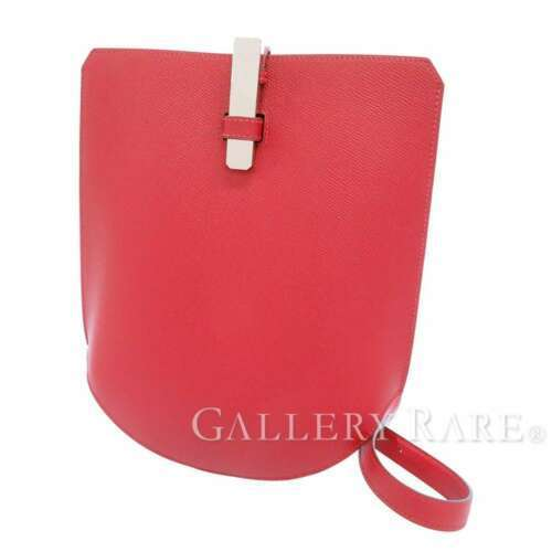 HERMES Baton de Craie 24 Veau Epsom Rouge Casaque Shoulder Bag 2017 #A Authentic