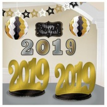 2019 New Years Eve Graduation Room Decorating Kit 10 Pc Black Gold Silver - $15.79