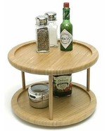 Bamboo Made 2 Tier Turntable 10 X 10 inch Spice Storage Fits Most Cabine... - $30.59