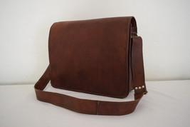 15Inch Real Brown Leather Padded Messenger Bag Macbook Laptop Satchel Ec... - $56.51