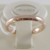18K ROSE GOLD WEDDING BAND UNOAERRE COMFORT RING MARRIAGE 3 MM, MADE IN ITALY