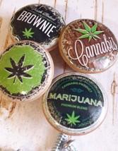 Marijuana Birch Wood Knobs, Handmade, Set of 4 Retro Hemp Cannabis Drawer Pulls - $23.76
