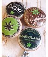 Marijuana Birch Wood Knobs, Handmade, Set of 4 Retro Hemp Cannabis Drawe... - $23.76