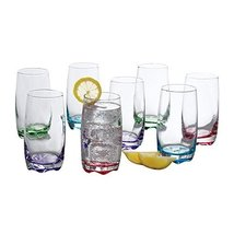 Tumbler Set by Gibson 8 piece set 4 assorted colors drinking glass set c... - $38.97