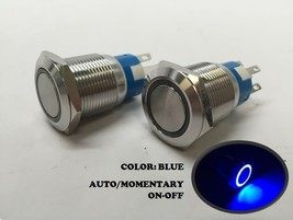 Pactrade Marine 10pcs Car Mini Round Blue Push Button Switch Momentary On-Off