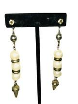 """Vintage 4"""" Long Faux Pearl Ball Drop Dangle Pierced Stud Earrings J44 - $16.14"""